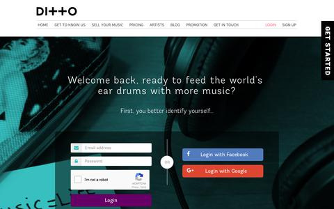 Screenshot of Login Page dittomusic.com - Login to your Ditto Music account | Sign in - captured July 28, 2017