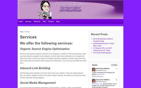 Screenshot of Services Page mysearchguru.com - MySearchGuru: Our Services | My Search Guru - captured Oct. 7, 2014