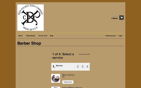Screenshot of FAQ Page deeppocketjeancompany.com - Barber Shop – Deep Pocket Jean Company - captured Nov. 3, 2014
