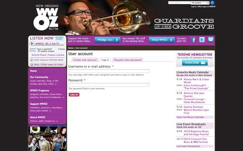Screenshot of Login Page wwoz.org - User account | WWOZ New Orleans 90.7 FM - captured Sept. 19, 2014