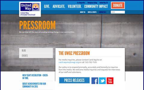 Screenshot of Press Page uwgc.org - Pressroom - captured Feb. 13, 2016