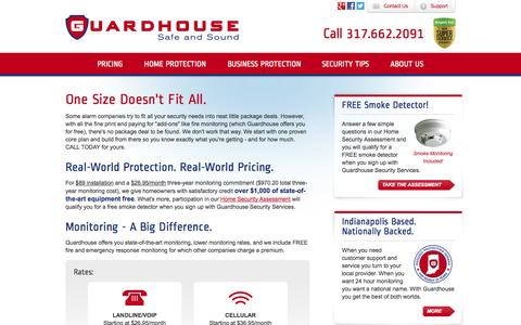 Screenshot of Pricing Page guardhousesecurity.com - Alarm Systems Indianapolis Pricing | Guardhouse Security - captured Oct. 3, 2014