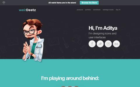 Screenshot of Home Page weirdeetz.com - weirdeetz | Hi I'm Aditya - captured Jan. 29, 2015