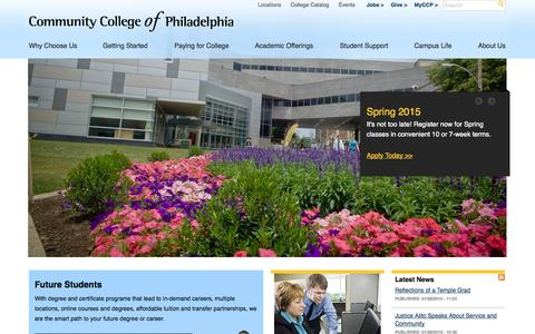 Screenshot of Home Page ccp.edu - Welcome to the Community College of Philadelphia | Community College of Philadelphia - captured Jan. 28, 2015