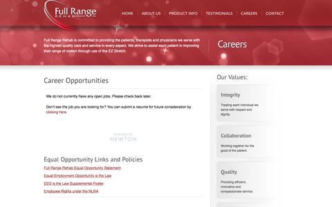 Screenshot of Jobs Page fullrangerehab.com - Career Opportunities | EZ Stretch by Full Range Rehab - captured Sept. 3, 2018