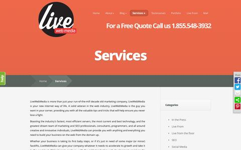 Screenshot of Services Page livewebmedia.com - Web Design, Development & SEO Services in Los Angeles - captured Sept. 30, 2014