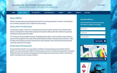 Screenshot of About Page asbtia.com.au - About ASBTIA - Australian Southern Bluefin Tuna Industry Association LTD (ASBTIA) - captured Feb. 6, 2016