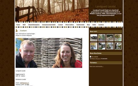 Screenshot of Contact Page webs.com - Contact - Landgoed Leudal - captured Sept. 13, 2014