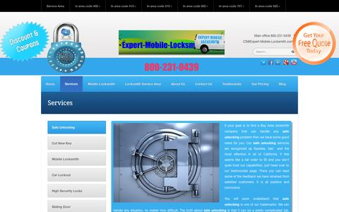 Screenshot of Services Page expert-mobile-locksmith.com - Services - The Locksmith Experts Expert-Mobile-Locksmith.com   The Locksmith Experts Expert-Mobile-Locksmith.com - captured Sept. 26, 2014