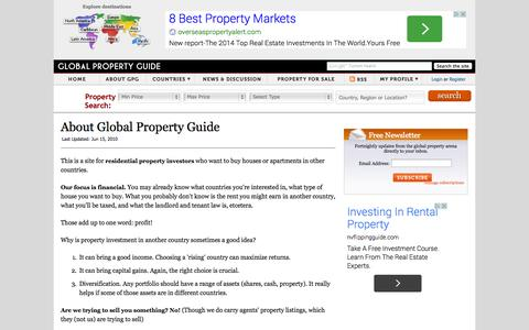 Screenshot of About Page globalpropertyguide.com - About Global Property Guide - captured Sept. 18, 2014