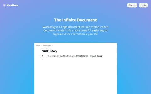 Screenshot of Home Page workflowy.com - The Infinite Document - WorkFlowy - captured Feb. 7, 2019