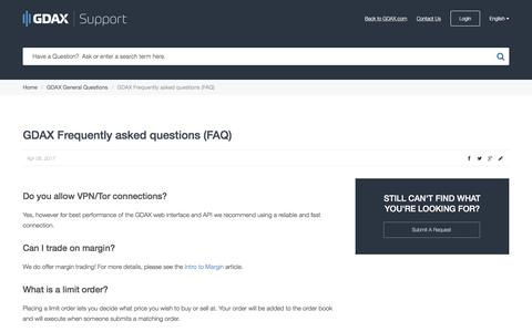 Screenshot of FAQ Page gdax.com - GDAX |      GDAX Frequently asked questions (FAQ) - captured May 4, 2017