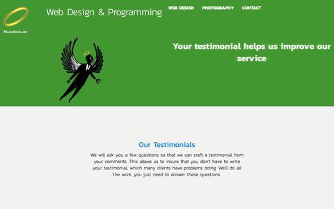 Screenshot of Testimonials Page magicangel.net - Send Us A Testimonial - captured Nov. 27, 2017