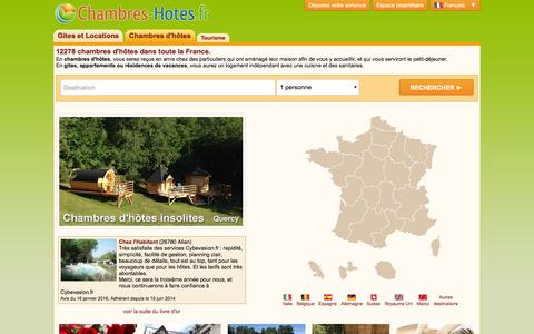 Screenshot of Home Page chambres-hotes.fr - Guide de chambres d'hôtes en France - captured Jan. 17, 2016