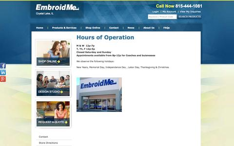 Screenshot of Hours Page embroidme-crystallake.com - Hours of Operation | EmbroidMe - captured Oct. 2, 2014