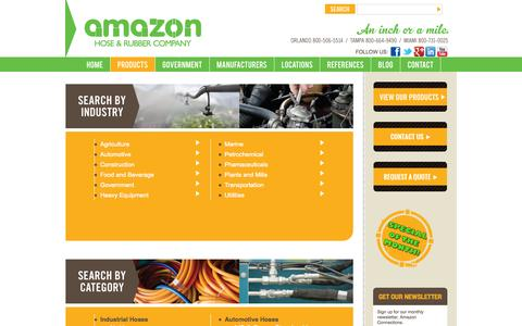 Screenshot of Products Page amazonhose.com - Hydraulic and Industrial Hoses - captured Oct. 4, 2014