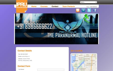 Screenshot of Contact Page ipru.in - Contact - captured Oct. 4, 2014