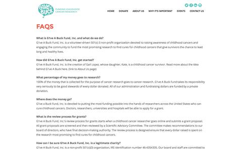 Screenshot of FAQ Page g1veabuckfund.org - FAQs - The G1VE a Buck Fund - captured Dec. 5, 2015