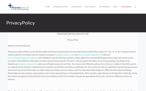 Screenshot of Privacy Page pharmasecure.com - PrivacyPolicy – PharmaSecure® – Anti-Counterfeiting, Identification, and Brand Protection Solutions - captured Aug. 26, 2017