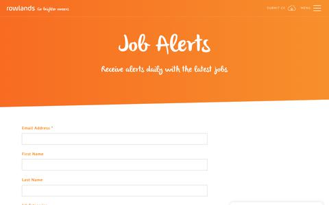 Screenshot of Signup Page rowlands.co.uk - Job Alerts | Rowlands Recruitment - captured Nov. 19, 2018