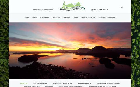 Screenshot of About Page tofinochamber.org - About Us — Tofino-Long Beach Chamber of Commerce - captured May 29, 2019