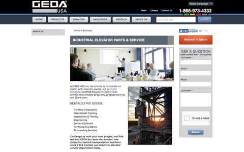 Screenshot of Services Page gedausa.com - Construction Elevator Parts and Service - GEDA - USA - captured Oct. 6, 2016