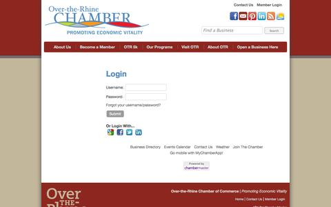 Screenshot of Login Page otrchamber.com - Login - Over-the-Rhine Chamber : Cincinnati, Ohio : - captured Oct. 7, 2014