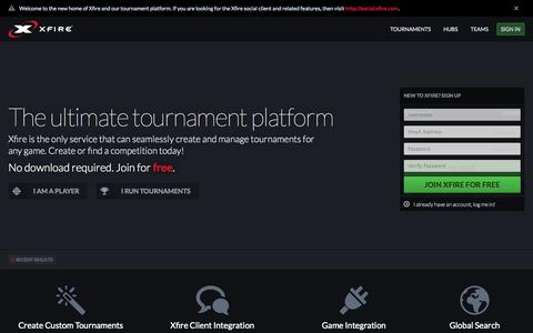 Screenshot of Home Page xfire.com - Xfire - The Ultimate Tournament Platform - captured Jan. 14, 2015