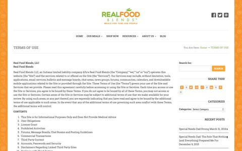 Screenshot of Terms Page realfoodblends.com - TERMS OF USE - captured Aug. 15, 2016