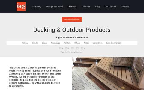 Screenshot of Products Page deckstore.ca - Decking and Outdoor Products in Ontario - captured Oct. 28, 2017
