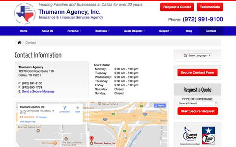 Screenshot of Contact Page thumannagency.com - Contact Information   Thumann Insurance Agency, Dallas TX - captured Oct. 9, 2017
