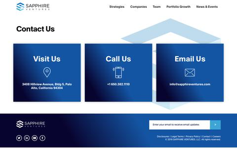 Screenshot of Contact Page sapphireventures.com - Contact | Sapphire Ventures - captured May 16, 2019