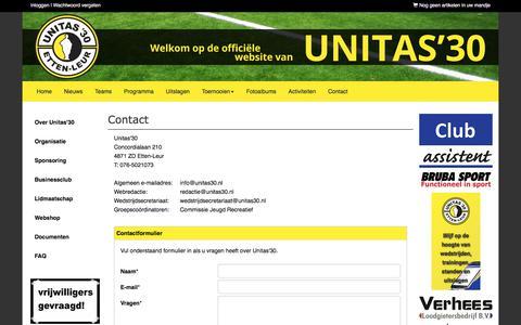 Screenshot of Contact Page unitas30.nl - Contact - Unitas'30 - voetbal - Etten-Leur - captured Sept. 26, 2017