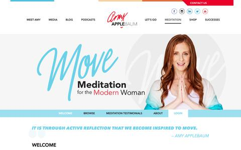 Screenshot of About Page amyapplebaum.com - MOVE | Guided Meditation for the Modern Woman - captured Oct. 26, 2018