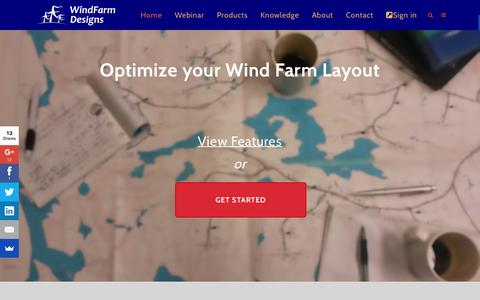 Screenshot of Home Page windfarmdesigns.com - Home - WindFarmDesigns - captured Feb. 24, 2016