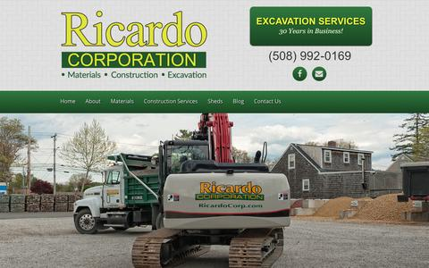 Screenshot of Home Page ricardocorp.com - Landscape & Construction Materials - Ricardo Corporation - captured Dec. 1, 2016