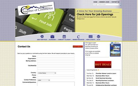 Screenshot of Contact Page berthoudcolorado.com - Contact Us - Berthoud Area Chamber of Commerce - captured Nov. 14, 2016