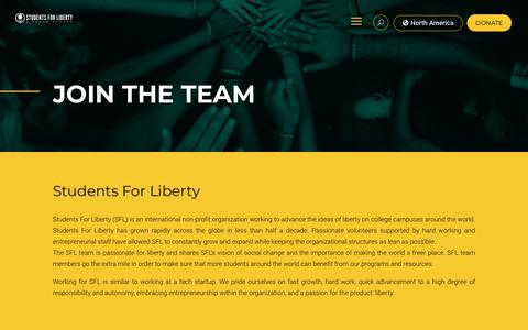 Screenshot of Jobs Page studentsforliberty.org - Jobs | Students For Liberty - captured Dec. 4, 2019