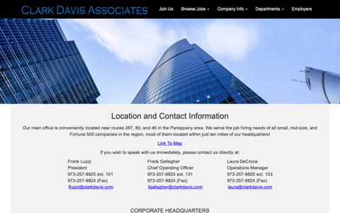 Screenshot of Contact Page Locations Page clarkdavis.com - Location and Contact Info - Clark Davis Associates staffing agency - captured Sept. 28, 2018