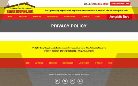 Screenshot of Privacy Page reiteroofing.com - Privacy Policy | Reiter Roofing, INC - captured Oct. 7, 2018