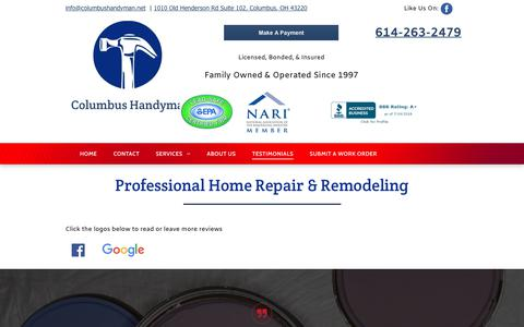 Screenshot of Testimonials Page columbushandyman.net - Handyman Reviews | Columbus, OH | Columbus Handyman - captured July 20, 2018