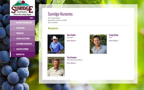 Screenshot of Team Page sunridgenurseries.com - Management - captured March 8, 2016