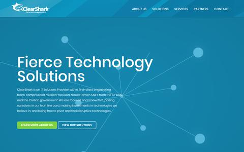 Screenshot of Home Page clearshark.com - ClearShark |  Fierce Technology Solutions - captured May 23, 2019