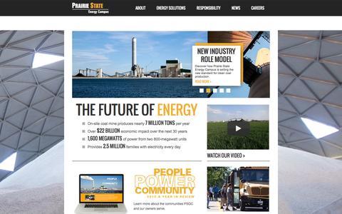 Screenshot of Home Page prairiestateenergycampus.com - Home : Prairie State Energy Campus - captured Oct. 2, 2014
