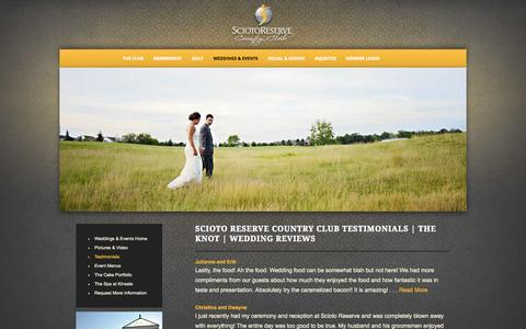 Screenshot of Testimonials Page sciotoreserve.com - Scioto Reserve Country Club Testimonials | The Knot | Wedding Reviews - Scioto Reserve Country Club - captured Oct. 4, 2014