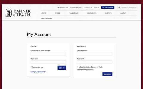 Screenshot of Login Page banneroftruth.org - My Account | Banner of Truth USA - captured Aug. 1, 2018