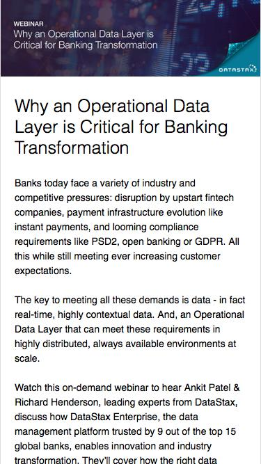 Why an Operational Data Layer is Critical for Banking Transformation