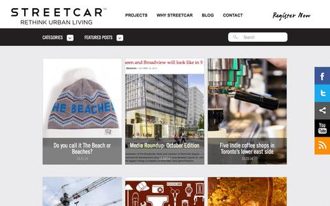 Screenshot of Blog streetcar.ca - Toronto Condo and Loft Blog | Streetcar Developments - captured Nov. 2, 2014