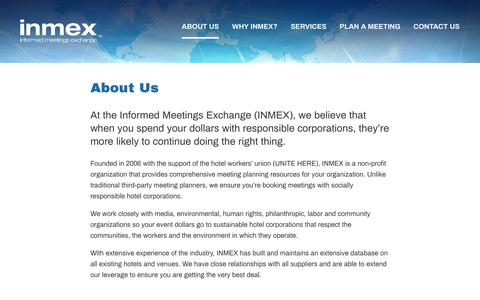Screenshot of About Page inmex.org - About Us – INMEX - captured Dec. 17, 2018