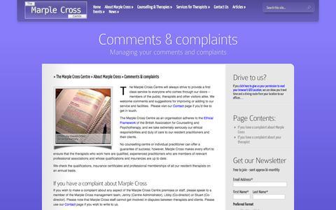 Screenshot of Terms Page marplecrosscentre.com - Comments & complaints - The Marple Cross Centre - captured Oct. 3, 2014